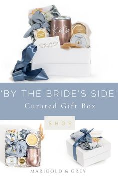 A lovely soft blue Plum Pretty Sugar robe anchors our signature 'By the Bride's Side' gift box along with several other luxury items intended for relaxing prior to getting ready for the wedding weekend! Minimums apply for tumbler personalization.