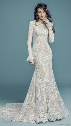 maggie sottero fall 2018 bridal long poet sleeves jewel neck full embellishment elegant modest fit and flare wedding dress covered back chapel train (12) mv -- Maggie Sottero Fall 2018 Wedding Dresses | Wedding Inspirasi #wedding #weddings #bridal #weddingdress #bride ~