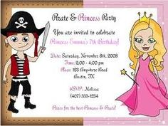 Pirate and princess party invitations aubry birthday pinterest invites for princess pirate party filmwisefo Choice Image