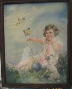 Mabel+Rollins+Harris+Original | Vintage Mabel Rollins Harris Litho Framed / Little Girl Dog Butterfly