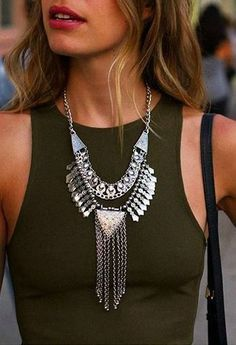 Silver Bib Statement Necklace 17,90 #happinessbtq