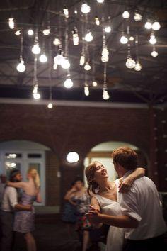 Dancing bride & groom. Fun lighting