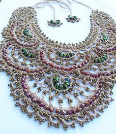 Free shipping.Beaded crochet necklace.100% by Emeliebeads on Etsy