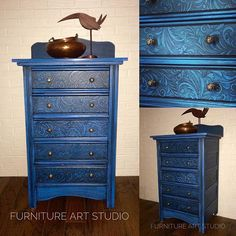 A raised stencil design was added to these dresser drawer fronts using Artisan Enhancements VP Antico!  Amazing artistic upcycle by Furniture Art Studio!