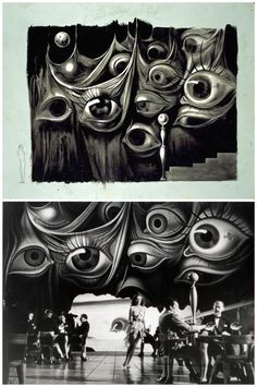 Dali's set design for Afred Hitchcock's 1945 feature film Spellbound was influenced by Freudian psychoanalysis. See how similar the finished set adheres to his original creepy drawing! Design Set, Set Design Theatre, Stage Design, Photos Panoramiques, Theatrical Scenery, Creepy Drawings, The Design Files, Scenic Design, Dali