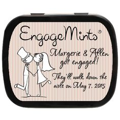"Kissing Couple Personalized Engagement Mint Tins for the couple who was ""mint"" to be! Personalized Wedding Favors, Unique Wedding Favors, Wedding Party Favors, Engagement Party Favors, Mint Tins, Getting Engaged, Perfect Party, Kissing, Couple"