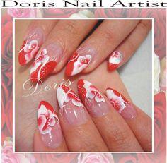 red white nail art קישוטי ציפורניים לבן אדום