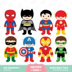 Cute Superheroes Digital Clipart - 1