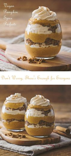 Vegan Pumpkin Spice Parfaits Recipe - Amazing layers of dairy-free spiced pumpkin mousse, coconut whip and gluten-free granola. @sodelicious