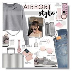 """travel in style"" by katyst ❤ liked on Polyvore featuring Citizens of Humanity, Rimowa, ADZif, Michael Kors, Ted Baker, Beats by Dr. Dre, Jimmy Choo, Essie and Royce Leather"