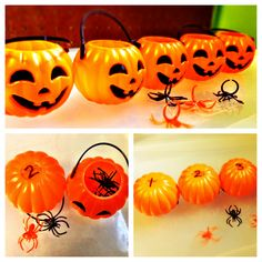 """Halloween preschool pumpkin activity:   Label 5 mini-pumpkin buckets 1-5; provide small counters such as spiders, gems, candy corn, etc.    Activities: sequence the pumpkins, count a quantity of small objects in corresponding pumpkin, count by twos using two counters per pumpkin, retell the rhyme, """"5 Little Pumpkins"""""""