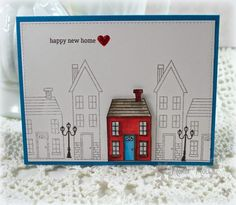 Holiday Home stamp set by Stampin' Up! A Creative Touch Holiday Cards, Christmas Cards, Valentine Cards, Happy New Home, Wedding Shower Cards, Housewarming Card, New Home Cards, Scrapbooking, Congratulations Card