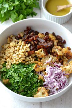 Roasted Cauliflower, Date & Red Onion Salad | Every Last Bite