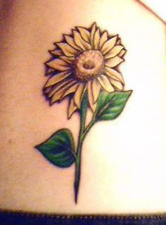 Sunflower With Green Leaves Tattoo On Waist