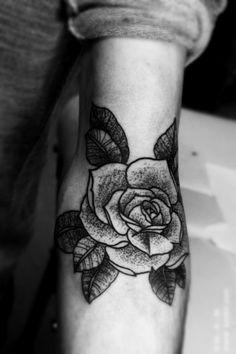 rose #arm #elbow #tattoos