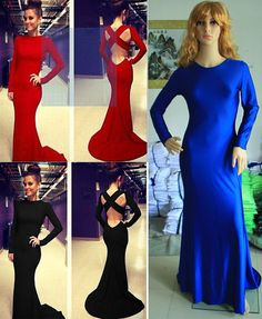 2015 Women Long sleeve Prom Ball Cocktail Evening Party Formal Gown Long Dress  #Unbranded #Maxi #Cocktail