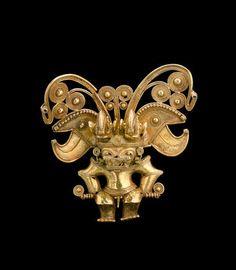 A large Tairona gold figural pendant Circa A.D. 1000-1500