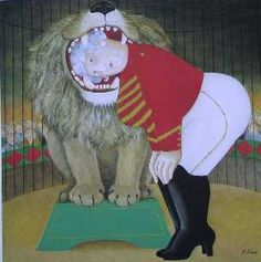 "Beryl Cook (British, 1926–2008)  ""Granny the Lion Tamer"""