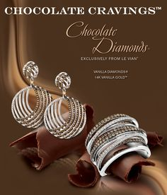 Chocolate Diamonds® and Vanilla Diamonds® Gladiator® Earrings and Ring in Vanilla Gold®.
