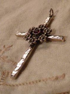 Sterling Silver and Garnet Cross Pendant by Richard Schmidt