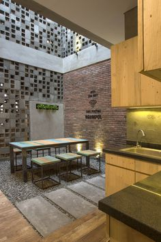 Gallery of Bioclimatic and Biophilic Boarding House / Andyrahman Architect – 15 Bioclimatic and Biophilic Boarding House,© Mansyur Hasan Brick Design, Wall Design, House Design, Home Interior Design, Exterior Design, Interior And Exterior, Brick Architecture, Interior Architecture, Classical Architecture