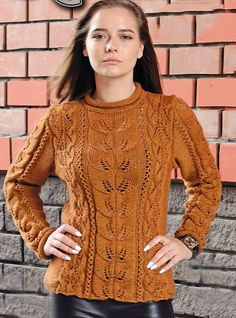 Free Knitting Patterns - Pullover with Lace and Leaf Patterns Sweater Knitting Patterns, Knitting Charts, Lace Knitting, Handgestrickte Pullover, Quick Knits, Lace Cardigan, Lace Patterns, Pulls, Knitwear