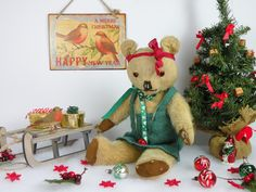Ivy a poor little tattered English bear C1950 hoping she will grow on you! www.onceuponatimebears.co.uk