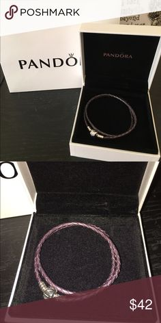 Pandora Purple Leather Bracelet New never used comes with box. Any questions pls ask size medium Pandora Jewelry Bracelets