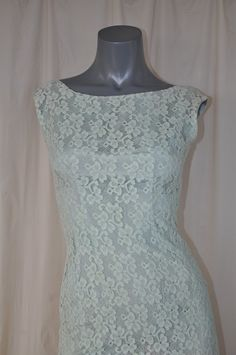 Vintage 50s Seafoam Lace Cocktail  Wiggle Dress by thatpoorgirl