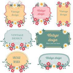 Floral frames vintage design set vector