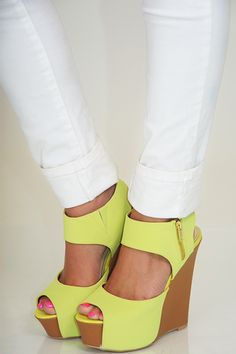 Majestic Steps Wedges: Lime - Use the promo code HOLLIREP to get 10% off of every order plus get FREE SHIPPING always!