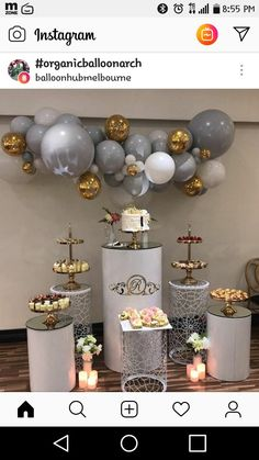 PartyWoo Gray and White Balloons 70 pcs 12 Inch Gray Balloons image 4 Birthday Balloon Decorations, Balloon Centerpieces, Birthday Balloons, Baby Shower Parties, Baby Shower Themes, Baby Shower Decorations, Wedding Decorations, 18th Birthday Party, Baby Birthday