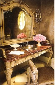 Antique french table converted into a bathroom sink. - Antique french table converted into a bathroom sink. Antique French Decor Mirror and Small bench. Glamorous Bathroom, Beautiful Bathrooms, Beautiful Mirrors, Small Bathrooms, Interior Design Gallery, French Table, Oui Oui, French Decor, French Antiques