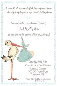 Printable Vintage Stork Baby Shower by BellaRaynePaperie on Etsy