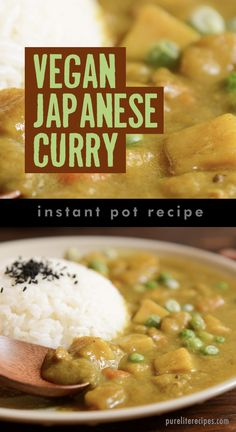 There is nothing as good as a hot plate of Japanese curry on a cold Winter evening. This traditional comfort food is vegetarian and easy to make in an Instant Pot in only Whole30 Soup Recipes, Best Soup Recipes, Vegan Dinner Recipes, Side Recipes, Curry Recipes, Vegan Dinners, Whole Food Recipes, Vegetarian Recipes, Healthy Recipes