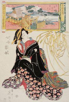 Keisai Eisen: from the series Tôto meisho, Kokoro no nazo sugata awase - Museum of Fine Arts Japanese Folklore, Japanese Textiles, Japanese Prints, Japanese History, Japanese Culture, Geisha Art, Chef D Oeuvre, Japanese Painting, Japan Art