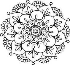 'Simple Mandala Flower' Spiral Notebook by mermaidnatalie – Today Pin – Tattoo Pattern Mandala Doodle, Mandala Drawing, Mandala Painting, Dot Painting, Mandala Mural, Henna Mandala, Silk Painting, Mandala Coloring Pages, Colouring Pages