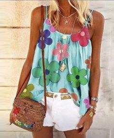 Women Boho Strappy Tank Tops Summer Beach Casual Baggy Tee Shirts Blouse T-Shirt Pink Beige, Rosa Beige, Tops Boho, Trendy Tops, Casual Tops, Vintage Stil, Style Vintage, Shirt Bluse, T Shirt