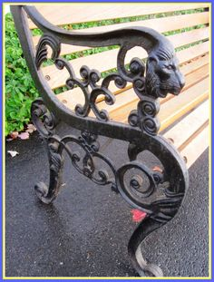 Vintage Metal Bench Ends.Antique Cast Iron Bench Legs Ornate Black Bench Ends Pair . A New Chapter: DIY: Restoring A Park Bench. Wrought Iron Bench, Cast Iron Bench, Outdoor Dining Chairs, Outdoor Living, Old Headboard, Wall Mounted Lamps, Metal Table Legs, Shabby Chic Table And Chairs, Accent Chairs For Living Room