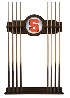 This Syracuse Orange 2 piece Cue Rack by Holland Bar Stool is a must have accessory for your pool table and game room. The top piece features CNC routed decorative elements and a 10 inch? mirrored cen