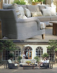 Wicker outdoor sofas are a classic addition to any outdoor furniture ensemble. Our London collection is a beautiful display of intricately woven wicker supported by teak legs. Click 'Like' if you can imagine London on your patio!