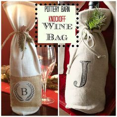 pottery barn inspired how to wine bag, crafts, seasonal holiday decor
