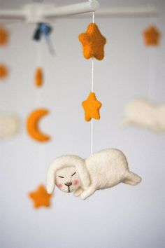 Baby Mobile White Sheeps  Baby Girl Mobile  White by funkysheepy, $85.00