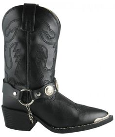 Youth Basic Black Cowboy Boot With Toe Rand And Concho Ankle Bracelets. Youth Cowboy Boots, Black Cowboy Boots, Western Boots, Kids Boots, Ankle Bracelets, Smoky Mountain, Black Faux Leather, Riding Boots, Footwear