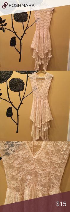 French Court Tiered Lace Slip Dress French Court Tiered Lace Slip Dress - cream size Medium.  Can be worn with deep v in back or front.  Cream slip base layer included.  Extremely versatile and feminine! Dresses
