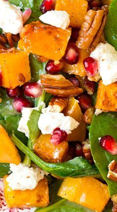 Butternut Squash, Pomegranate and Goat Cheese Spinach Salad with Red Wine Vinaigrette