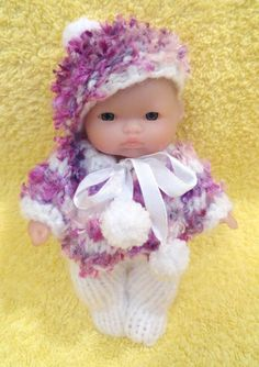 """Hand knitted clothes for 5"""" Berenguer Doll (#5)"""