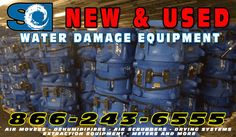 Water Damage Restoration Equipment - New and Used | For Sale or Rent at SCI Supply 866-243-6555 Air movers, dehumidifiers, air scrubbers, generators
