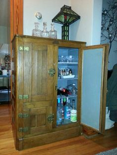 An old ice box turned into our new liquor cabinet.