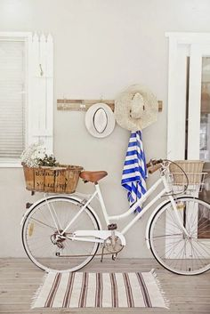 love a white cruiser bike, old french basket, nautical stripes, deck and beach h. - Life's a Beach - Bike Beach Cottage Style, Coastal Style, Coastal Decor, Beach House, Cottage Art, French Cottage, Cottage Ideas, Coastal Cottage, Coastal Living
